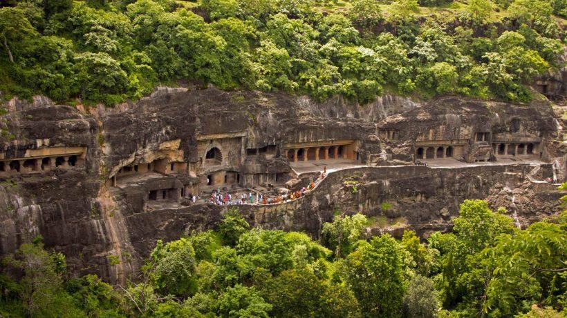 Aerial view of Ajanta Caves, Maharashtra